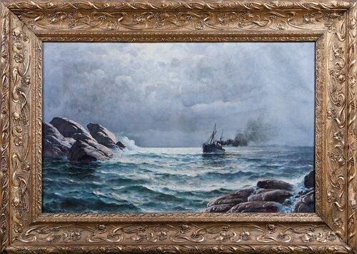 Dampbåt mellom klipper 1910