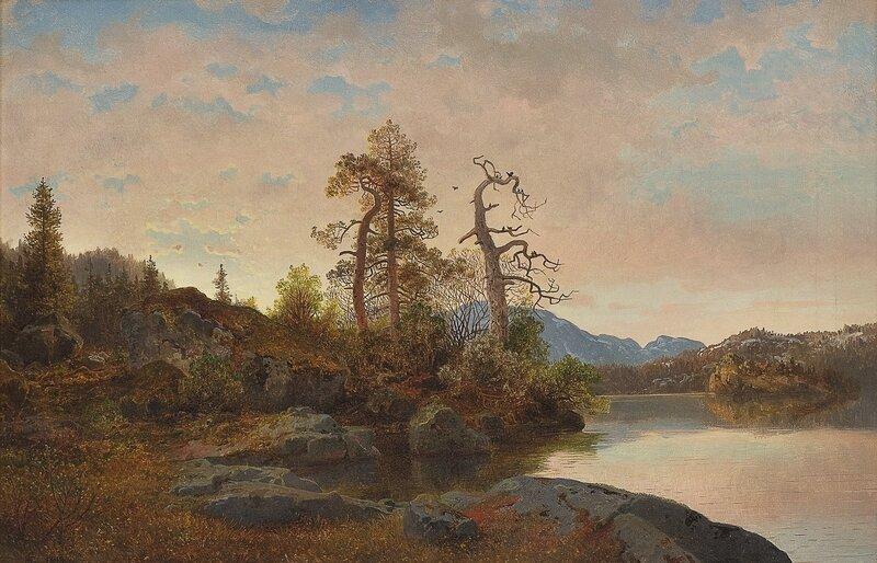 Skoglandskap med innsjø 1849