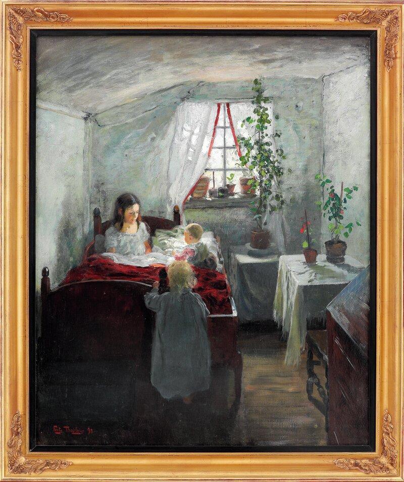 Morgen, interiør fra en fiskerstue 1890