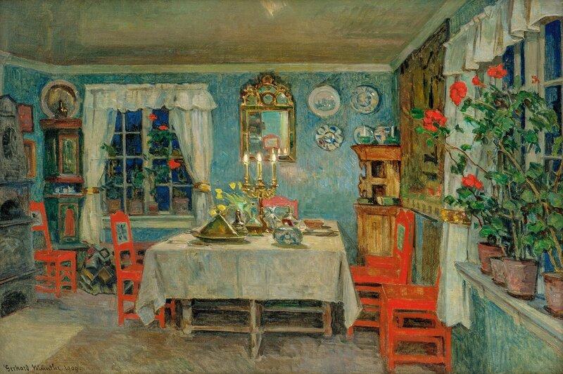 Interiør fra kunstnerens spisestue på Lagåsen 1909