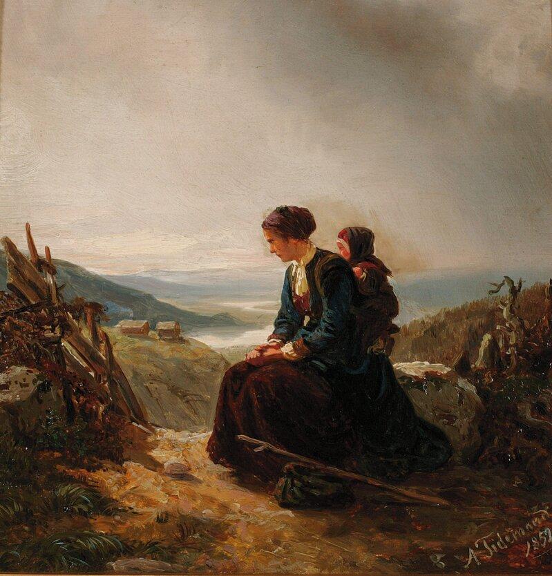 Hvilende kvinne og barn på fjellsti 1852
