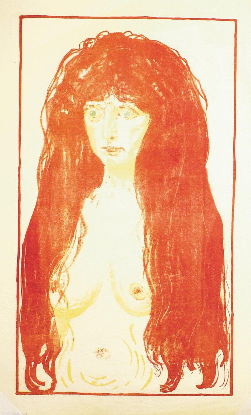 Kvinne med rødt hår og grønne øyne. Synden