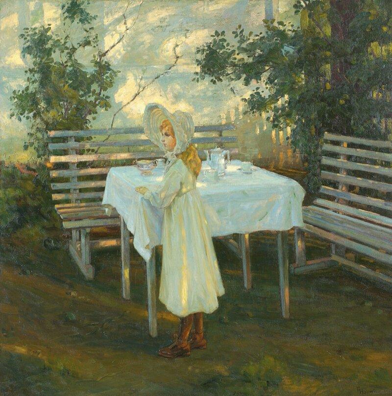 Pike ved oppdekket havebord 1905
