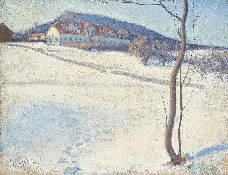 Vinterbilde fra Bærum 1893