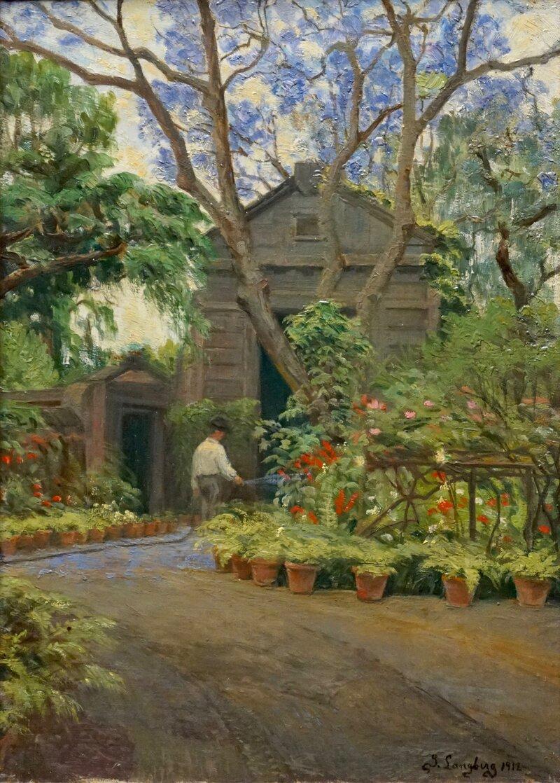 Gardener watering flowerpots 1912