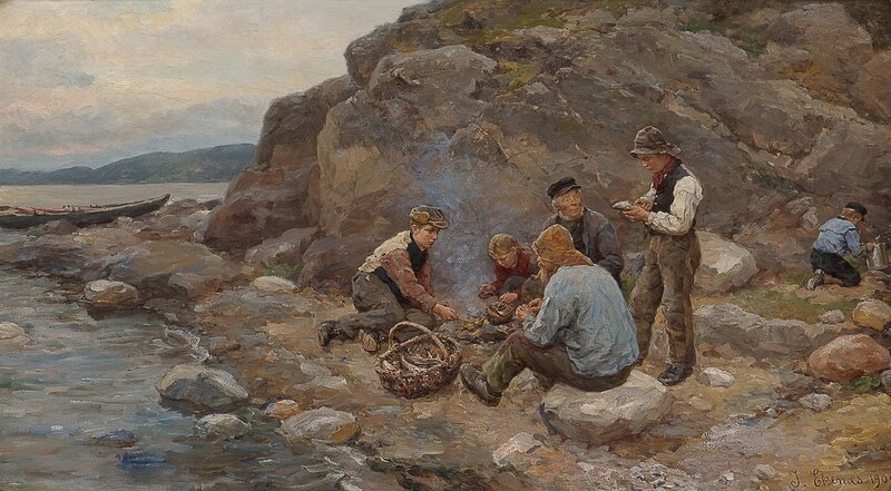 Fiskere ved strand 1909