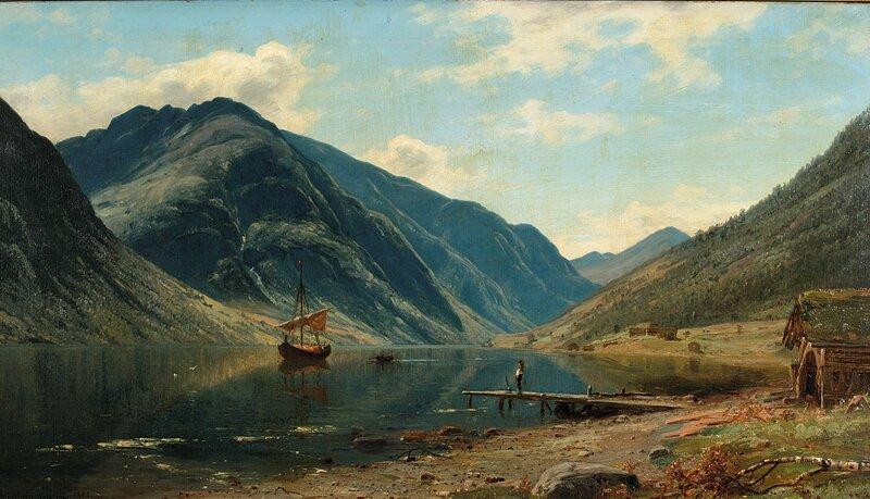 Fjordlandskap med folkeliv 1883