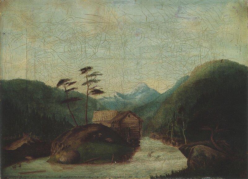 Landskap med foss og sagbruk 1850