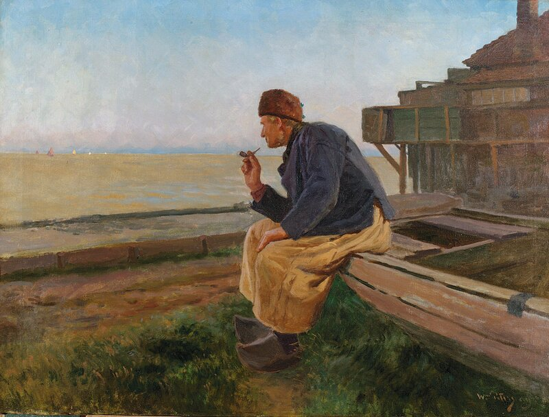 Sittende mann ved strand 1909