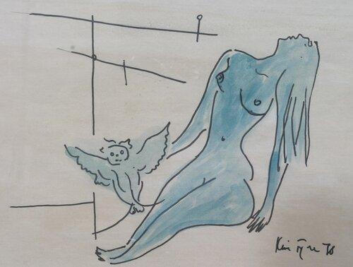 Sittende kvinne og ugle 1978