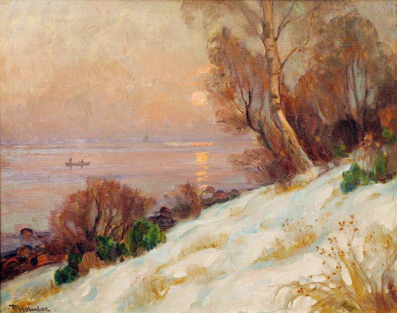 Kystlandskap med robåt, vinter