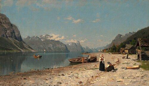 Fjordlandskap med folkeliv 1877