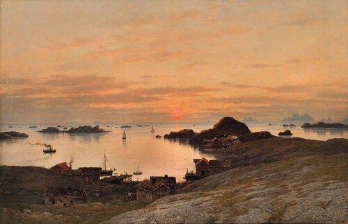 Fiskevær i midnattsol 1881