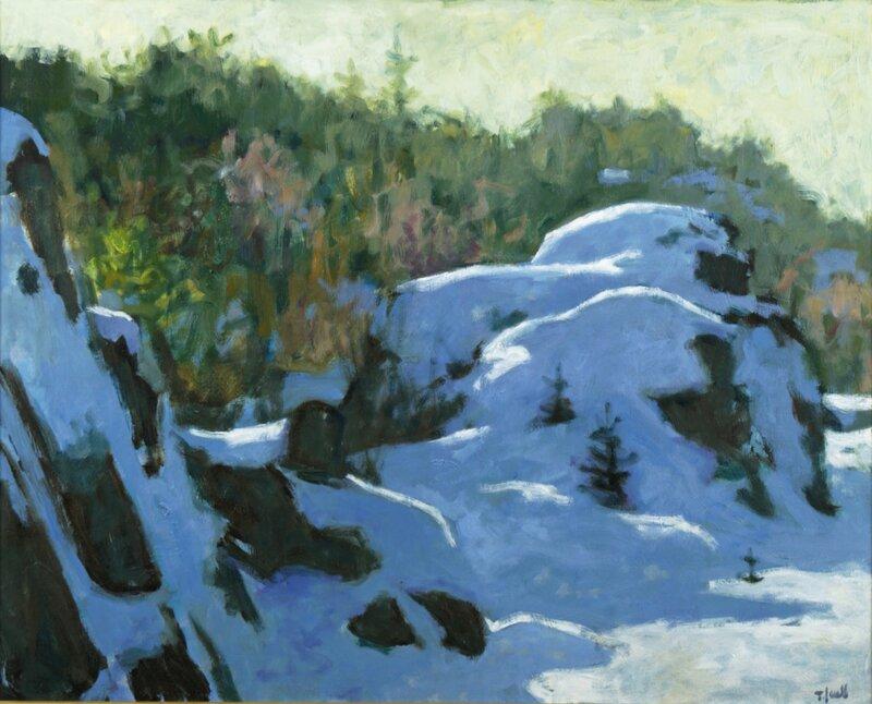 Steinknauser dekket av sne