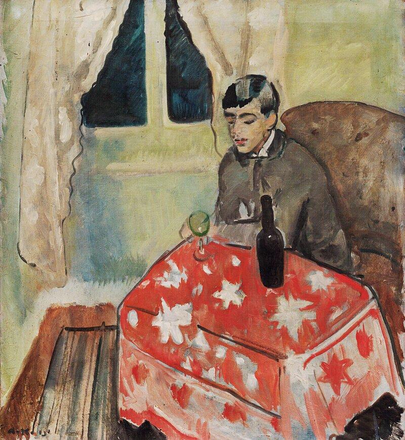 Sittende mann med glass og flaske 1915