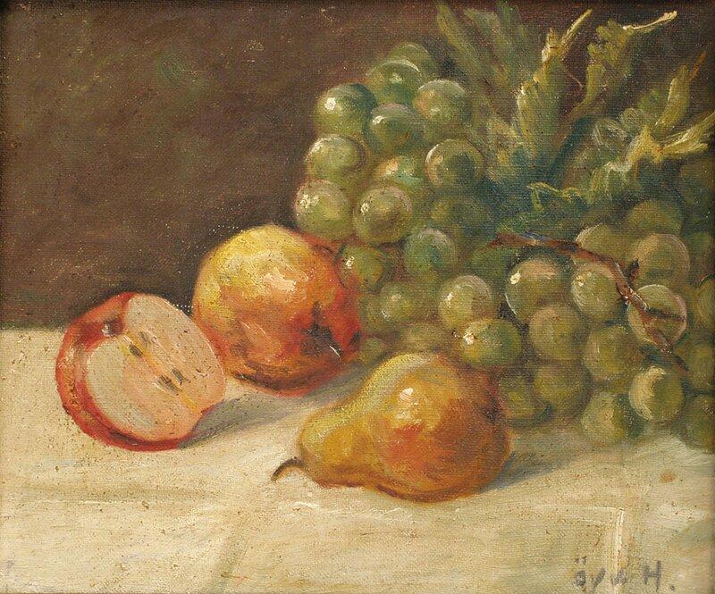 Oppstilling med epler, pære og druer