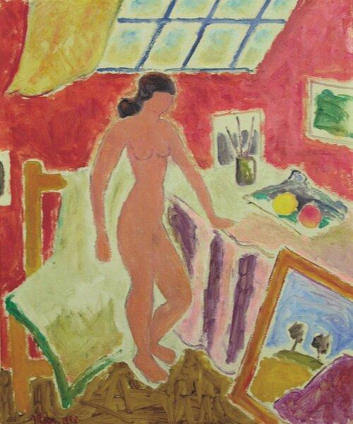 Kvinnelig aktmodell i atelier 1955