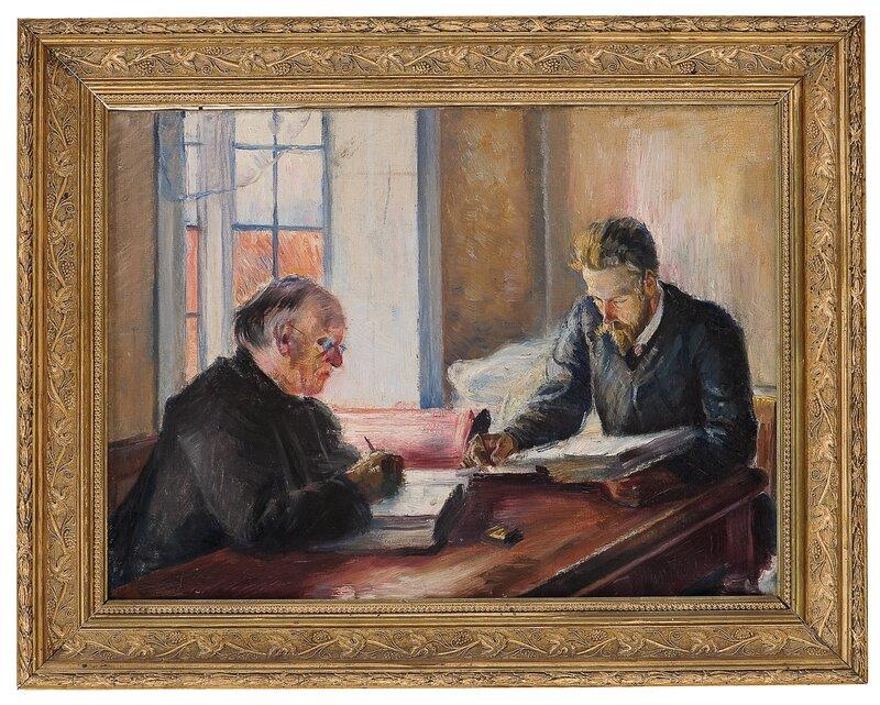 Interiør med to skrivende menn