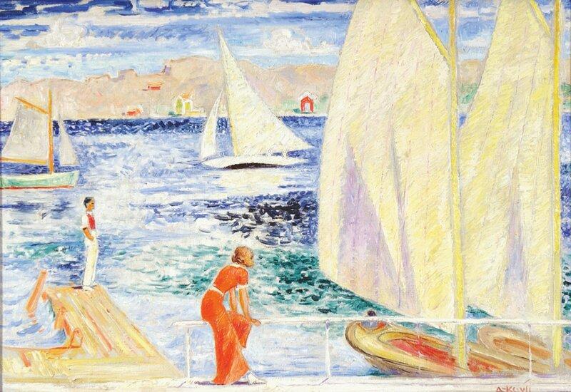 Kvinne og mann på brygge og seilbåter
