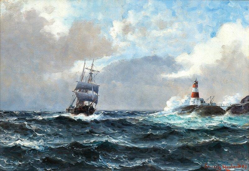 Seilskute ved fyrtårn 1907