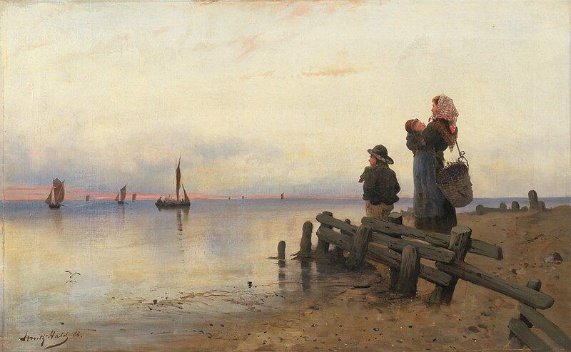 Kone og barn på sandstrand 1888
