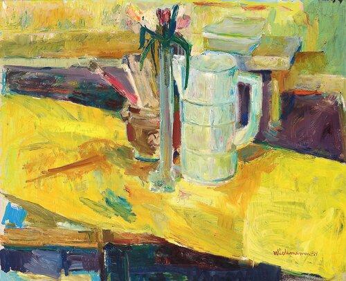 Oppstilling med krukke, vase og kanne 1944