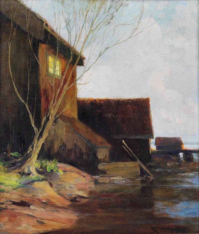 Kystlandskap med hus 1916
