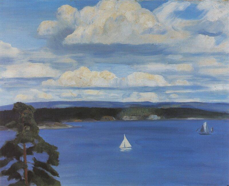 Seilbåter på Lysakerfjorden. Utsikt mot Bygdøy