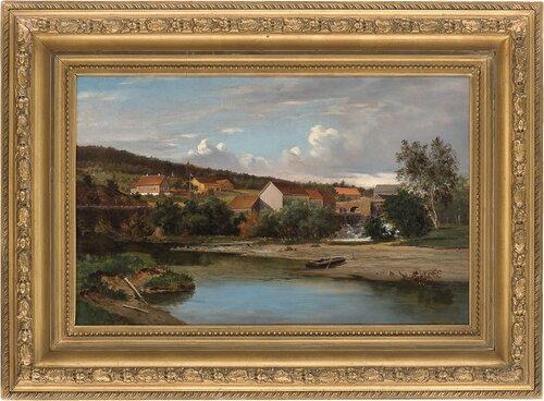Storgård med foss i forgrunnen 1875