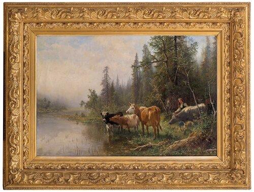 Norsk skogslandskap med kyr 1889