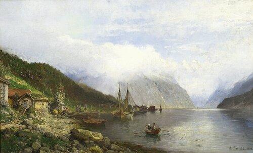 Fjordlandskap med brygge og båter 1888