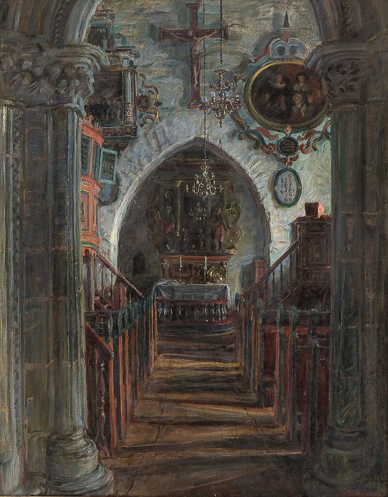 Interiør fra Dale kirke i Luster 1927