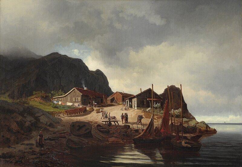 Kystlandskap med folkeliv 1855