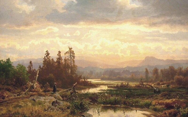 Budeie med kyr ved vann 1868