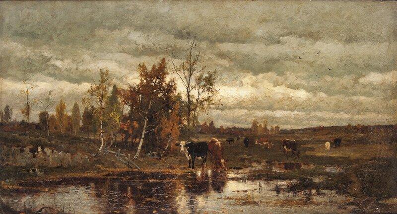 Kyr ved vanningsstedet 1873