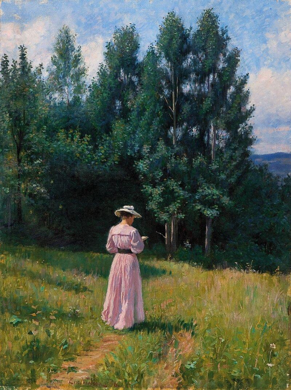 Lesende kvinne i sommerlandskap 1896
