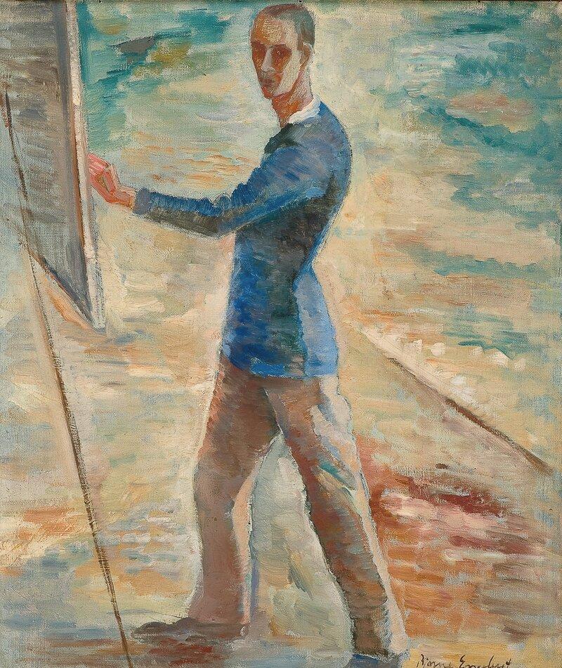 Selvportrett ved staffeli
