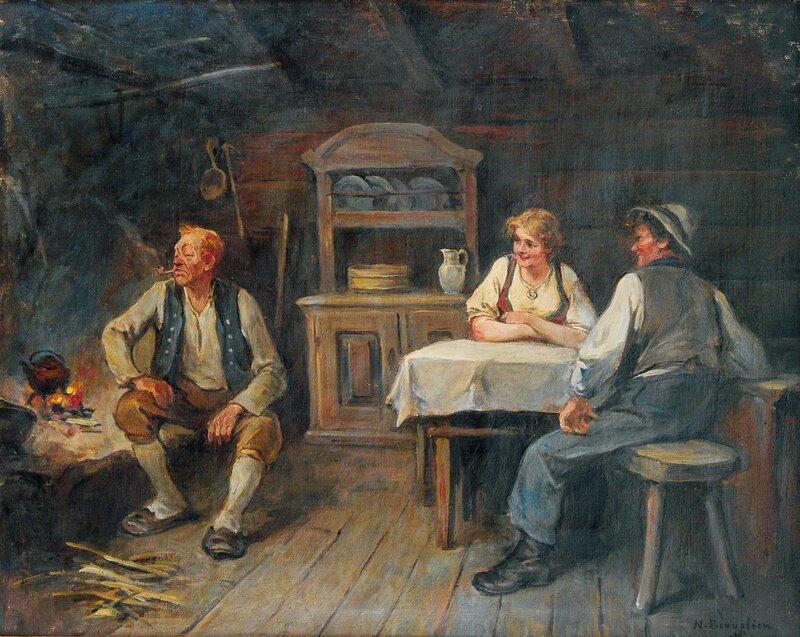Pike, gutt og eldre mann i interiør