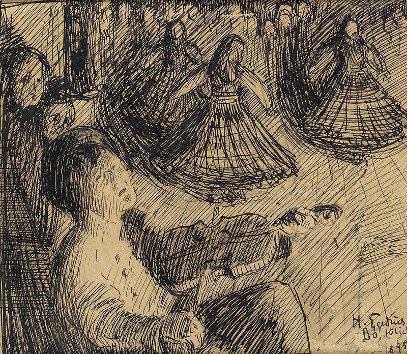 Spillemand og tremandsdans 1895