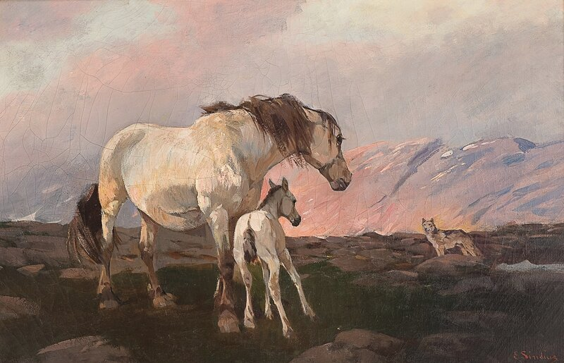 Mare with foal and a wolf in the mountains
