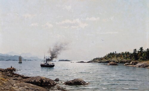 Dampbåt og seilskuter i kystlandskap