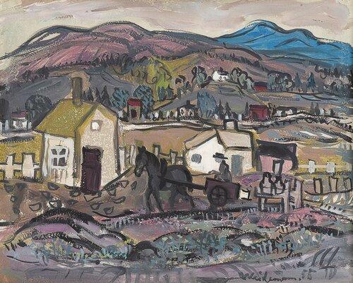 Landskap med hest og kjerre 1955