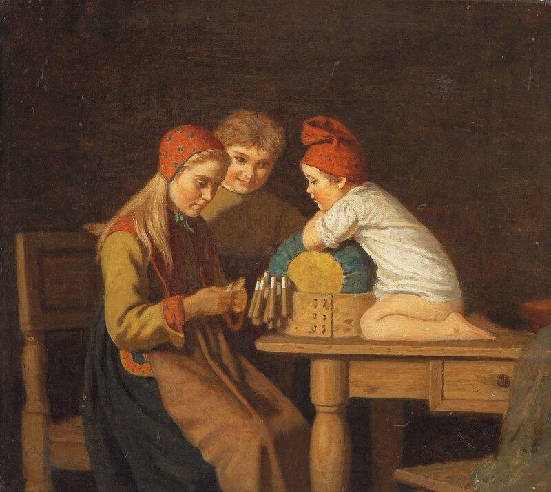 To barn ser på pike som knipler