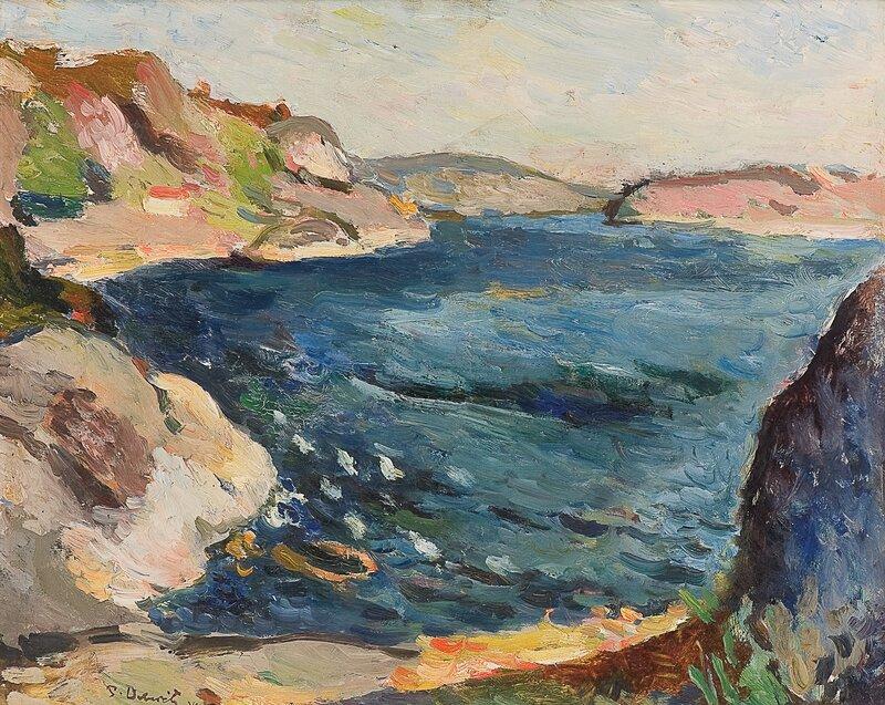 Kystlandskap, solgangsbris 1929