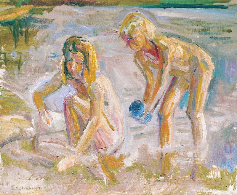To lekende barn ved strand 1992