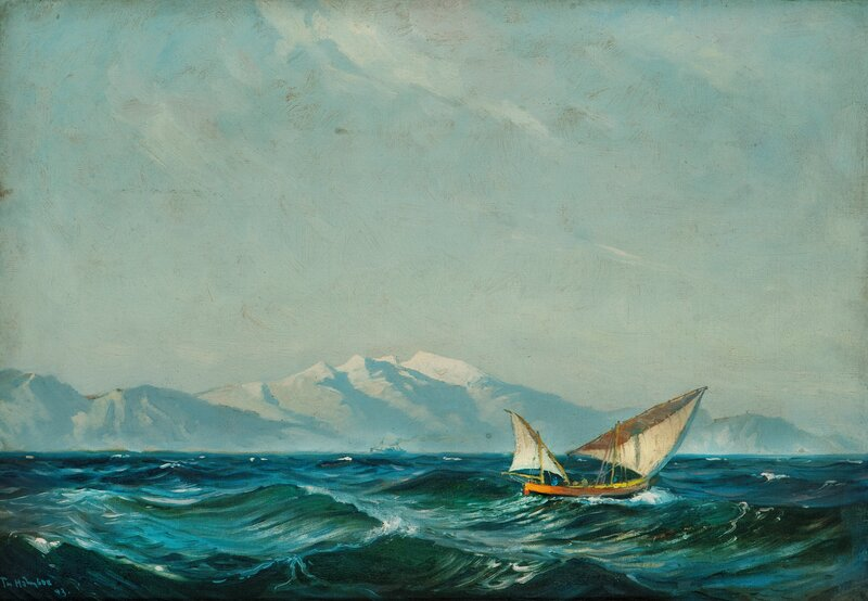 Sailboat and steam Boat by the Coast, Northern Norway 1893
