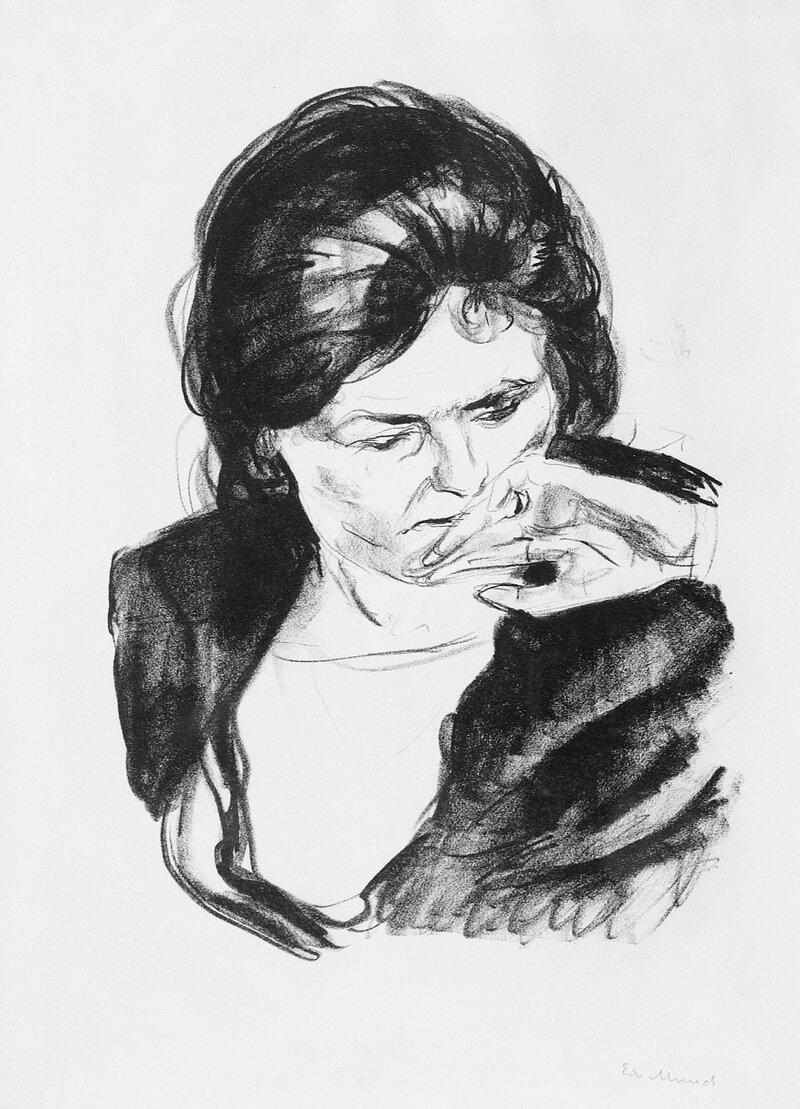 Kvinne med hånden ved munnen