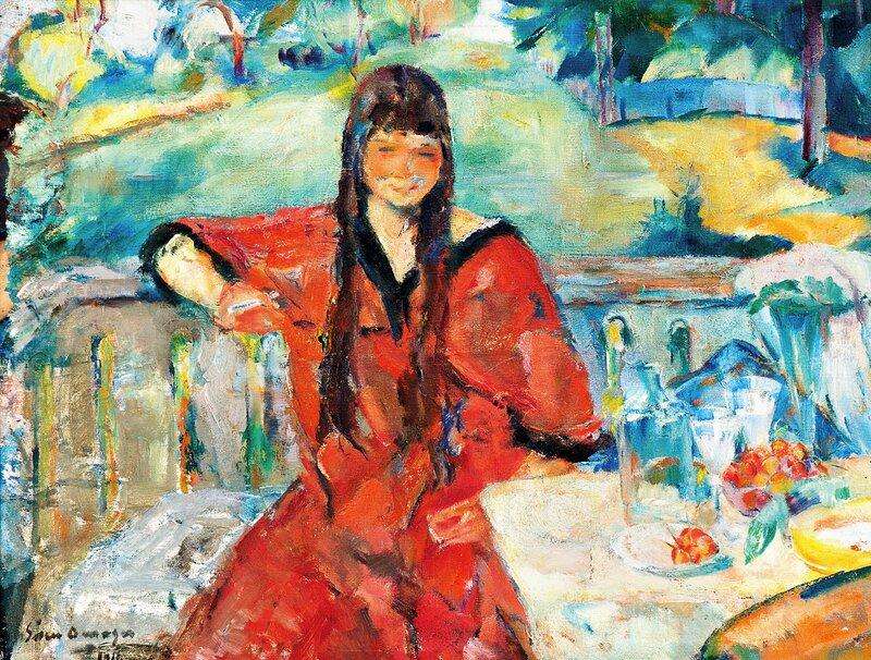 Ung kvinne i rød kjole 1916