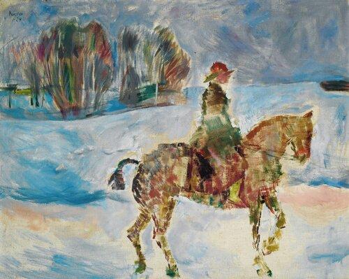 Fru godseier Langaard til hest 1924