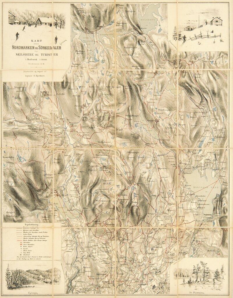 kart over sørkedalen Kart over Nordmarken og Sørkedalen 1890   Grev Wedels Plass Auksjoner kart over sørkedalen